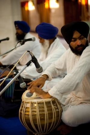 hymn: Paonta Sahib - May 23: Sikh musicians play music during services held at Paonta Sahib Gurudwara May 23, 2009 at Paonta Sahib, Himachal Pradesh, India