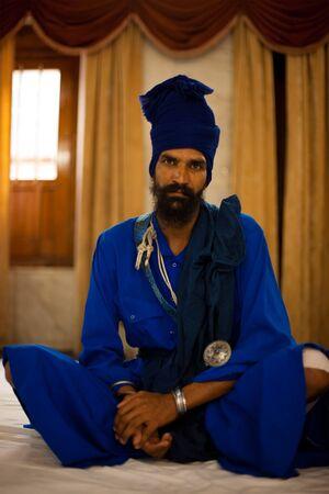 gurudwara: Paonta Sahib - May 23: A Sikh man at the Paonta Sahib gurudwara attends service May 23, 2009 at Paonta Sahib, Himachal Pradesh, India