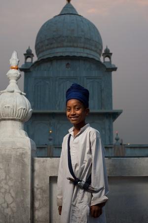 gurudwara: Paonta Sahib - May 22: A young Sikh boy at the Paonta Sahib Gurudwara, known for their past warriors May 22, 2009 at Paonta Sahib, Himachal Pradesh, India