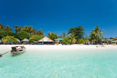 This island paradise possesses the natural beauty of a truly white sand beach and crystal clear ocean on Ko Lipe, Thailand