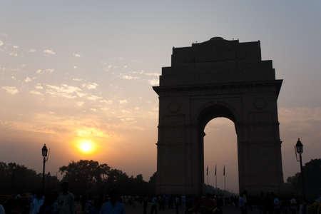 india gate: A beautiful silhouette of India Gate memorial, a famous landmark in Delhi, India Stock Photo