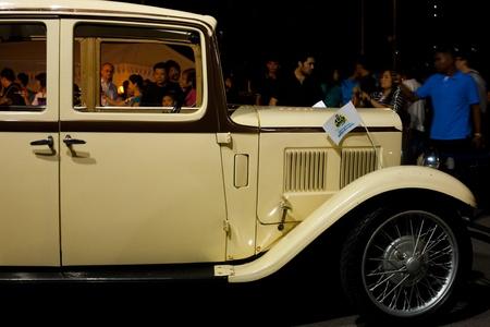 Bangkok - November 21: Classic Mercedes Benz car on display at Lumphini Park for Loi Krathong festival November 21, 2010 at Bangkok, Thailand