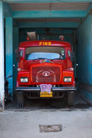 GANGTOK, INDIA - JANUARY 10: An old red Indian fire truck ready for a blaze at a fire station January 28, 2008 at Gangtok, Sikkim, India