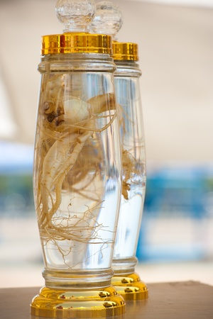 oriental medicine: A pair of bottled ginseng, a traditional oriental medicine, is displayed.