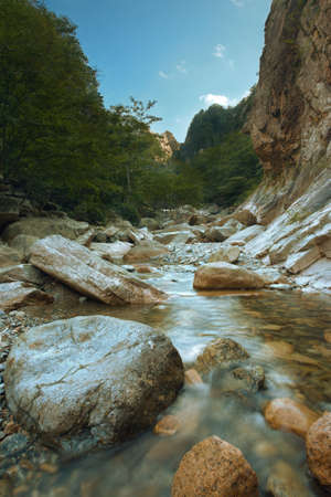 A beautiful scenic landscape of a slow trickling stream at Seoraksan National Park in South korea.