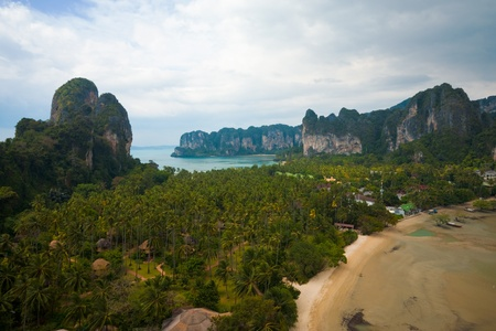 A breathtaking aerial view of Railay beach and the surrounding topography in Krabi province, Thailand.