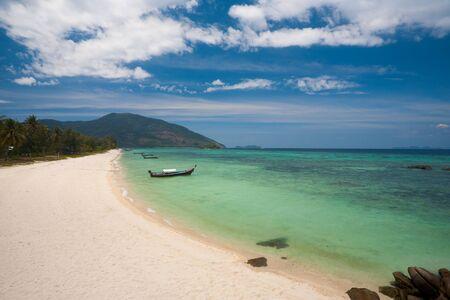 The beautiful white sand beach and blue turquoise water on Koh Lipe (Ko Lipeh) Thailand before tourism.