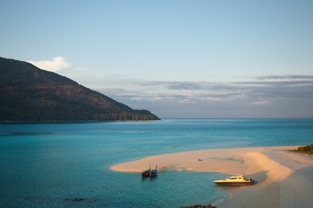 Aerial view of Koh Adang and Sunset beach in the evening as the sun begins to descend on Koh Lipe (aka Ko Lipeh), Thailand Stock Photo