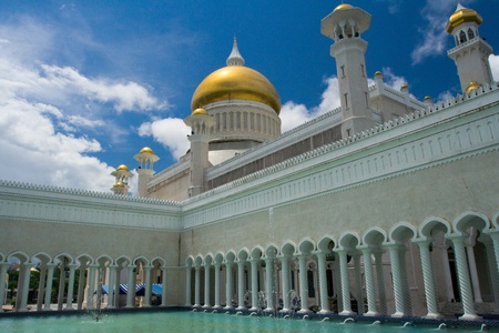 A water fountain and foot bath within the inner courtyard at the Sultan Omar Ali Saifuddin mosque in Bandar Seri Begawan (BSB), Brunei.