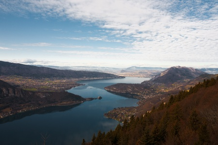 A birds eye view of Annecy Lake at the foot of the French Alps. Stock Photo - 12020182