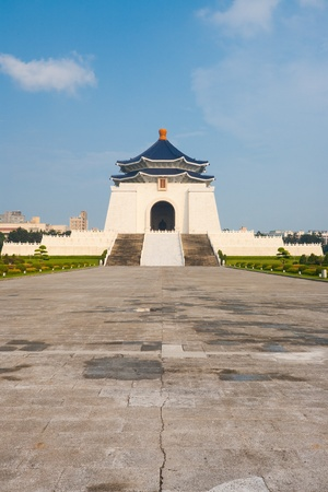 A wide and far view of the Chiang Kai Shek Memorial Hall in downtown Taipei
