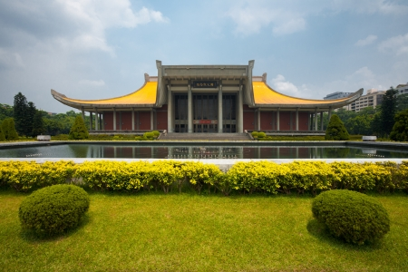 Front view of the Dr. Sun Yat Sen Memorial Hall in downtown Taipei, Taiwan