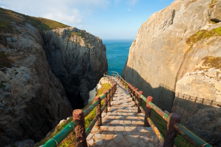 The viewpoint at Suicide Cliff, a tourist attraction inspired by legend, seen from the top of the entry steps on Dongyin island in the Matsu archipelago of Taiwan
