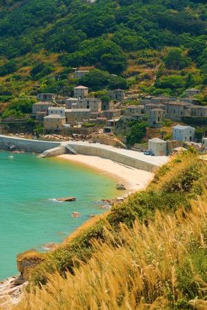 松島のトップ観光ディスティネーション、Qinbi 村には、地中海風の家を感じる台湾の Beigan 島に多くの美しく保存された福建省スタイル花崗岩。 垂 写真素材