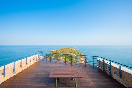 headland: A beautiful seascape and headland scenery from the viewpoint atop the Military History Museum in Beigan Island of the Matsu Islands in Taiwan.  Horizontal.