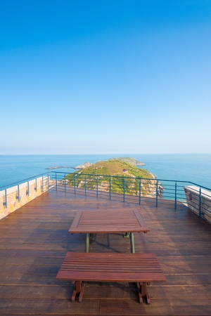 A stunning seascape and headland scenery from the viewpoint atop the Military History Museum in Beigan Island of the Matsu Islands in Taiwan.  Vertical. Reklamní fotografie