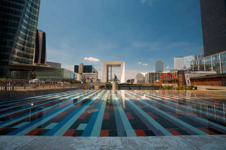 The central concourse of the La Defense area of Paris and the Grande Arche in the distance Stock Photo - 12547685