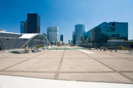 la defense: A magnificent view of the office buildings of La Defense from the steps of the Grande Arche in Paris, France.  Horizontal. Editorial