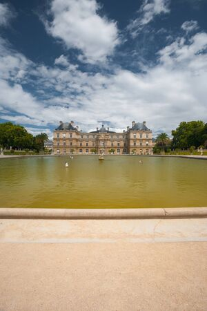 The majestic Luxembourg Palace and water fountain sits at the heart of Luxembourg Gardens, a public park in Paris, France Stock Photo - 13047150