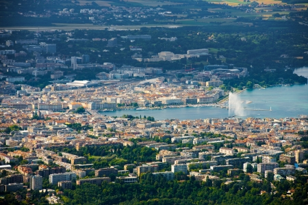 geneva: A beautiful aerial view of the city of Geneva and Lake Geneva with its jet deau water fountain in Switzerland Stock Photo