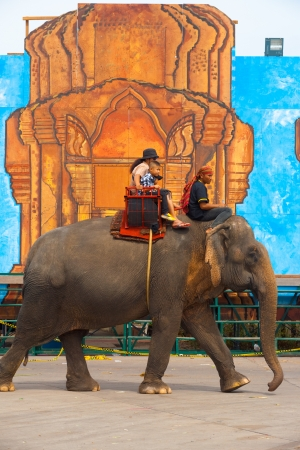 surin: SURIN, ISAN, THAILAND - NOVEMBER 19, 2010: An elephant carries paying passengers past an oversized temple drawing at the annual Surin Elephant Roundup on November 19, 2010 in Surin, Thailand
