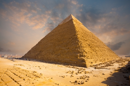A beautiful fiery sky behind the Giza pyramid of Khafre in Cairo, Egypt