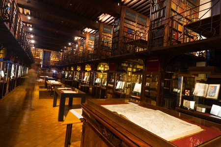 OLD LIBRARY: ANTWERP, BELGIUM - APRIL 25, 2010: The rarely opened interior of the Hendrik Conscience Library holding rare and old books, is publicly displayed for Heritage Day on April 25, 2010 in Antwerp, Belgium