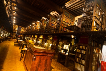 ANTWERP, BELGIUM - APRIL 25, 2010:  The inside of the rarely seen Hendrik Conscience Library, an old world library opened once yearly to the public on Heritage Day April 25, 2010 in Antwerp, Belgium