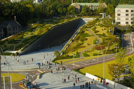 womans: SEOUL, KOREA - SEPTEMBER 22, 2009: The Ewha Campus Complex at worlds largest all female education institute, Ewha Womans University is seen from above on September 22, 2009 in Seoul, Korea. Horizntl