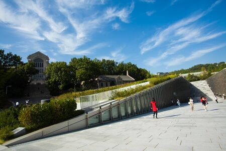 SEOUL, KOREA - SEPTEMBER 22, 2009: Students walk around the new Ewha Campus Complex, ECC, at Ewha Womans University, worlds largest all female college, on September 22, 2009 in Seoul, Korea Editöryel