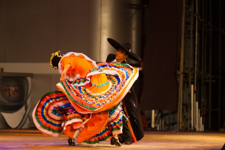 SEOUL, KOREA - SEPTEMBER 30, 2009: An unidentified dancers dress swirls at a Mexican Jalisco sones dance show at a free outdoor summer event near city hall on September 30, 2009 in Seoul, Korea
