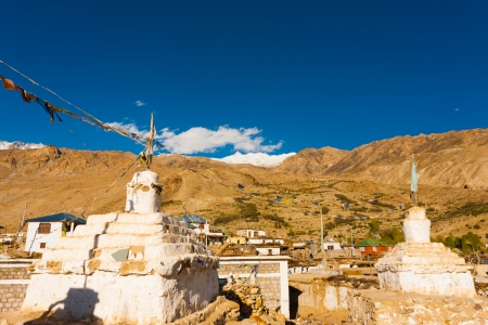 buddhist stupa: Buddhist stupas at a small temple complex in Nako, a village in the Spiti Valley of Himachal Pradesh, India