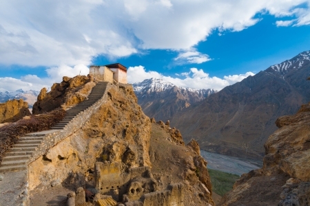 commanding: The watchtower at the old monastery has a commanding view of the mountains and Spiti Valley below in Dhankar, Himachal Pradesh, India