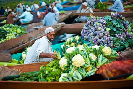 kashmir: SRINAGAR, INDIA - JULY 17, 2009: A Kashmiri man transfers vegetables from his shikara boat at the floating market on Dal Lake, a tourist attraction, in Kashmir on July 17, 2009 in Srinagar, India Editorial