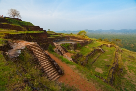 The terraced ruins at the summit top of Sigiriya rock, a former fortress, palace and monastery in Sri Lanka
