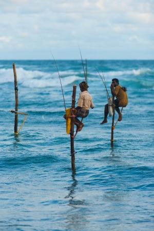 UNAWATUNA, SRI LANKA - MAY 22, 2008: An unidentified Sri Lankan stilt fishermen catches a small fish which dangles from the end of his pole on May 22, 2008 in Unawatuna, Sri Lanka Editorial
