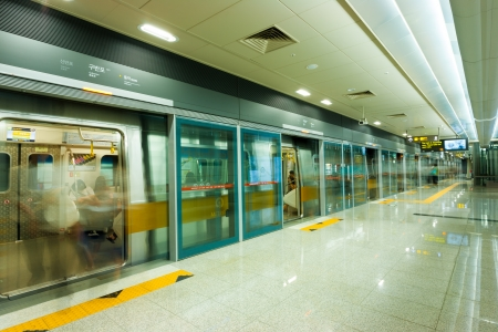 SEOUL, KOREA - SEPTEMBER 8, 2009: A beautifully clean platform of the Seoul metro subway system, the worlds most extensive by length, in Seoul, South Korea on September 8, 2009
