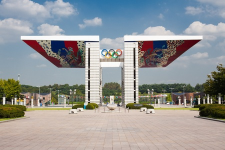 The eaved World Peace Gate stands at the entrance to Olympic Park in Seoul, South Korea