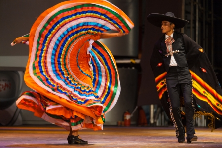 SEOUL, KOREA - SEPTEMBER 30, 2009: An unidentified couple wearing traditional clothes performs a Mexican hat dance at a folk show at a public outdoor stage at city hall