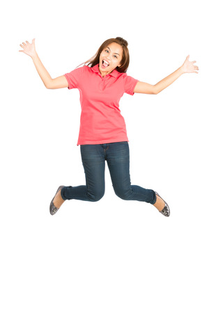 chinese lady: Cute Asian woman in casual clothes, jumping in the air with an exaggerated smile, arms and legs extended, showing an extreme happiness, ecstatic, or overjoyed emotion