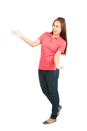 product placement: Full length isolated white background profile of spokes model Asian female, casually dressed, arms out to side, body language presenting, showing inserted product placement looking away to the sidel