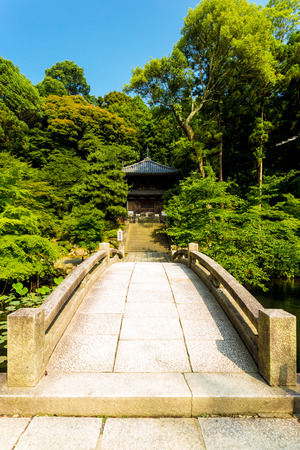 clear path: A stone bridge path and Japanese garden leads straight to the entrance of a minor temple nestled at the edge of a forest at Chionin Temple on a clear blue sky day in Kyoto, Japan