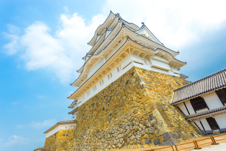 stronghold: Looking directly up from the bottom of Himeji-jo stronghold, one of twelve remaining original castles, on a clear blue sky day in Himeji, Japan after 2015 renovations