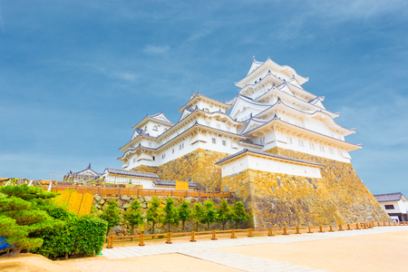renovated: Wide yard below at the base of Himeji-jo castle on a clear, blue sky day in Himeji, Japan after newly renovated early 2015. Angled horizontal copy space Editorial