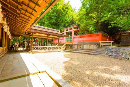 todaiji: Perfectly raked rock garden at rear of Kasuga-Taisha Shinto shrine at Todai-ji temple complex in Nara, Japan