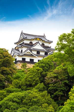 intact: Trees partially obscure the keep of Hikone-jo castle, one of Japans original twelve intact castles on a clear, sunny, blue sky day in Hikone, Japan