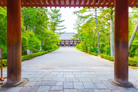 Looking from sidewalk, through entrance down main path to the Classical Golden Hall, Kondo, a national treasure, of the Toshodai-ji Buddhist temple in Nara, Japan. Horizontal Stock Photo