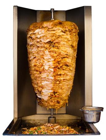 串焼き、伝統的な肉は shawarma サンドイッチの中東、アラブ諸国の中純粋な白い背景の分離機で料理を提供しています