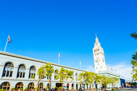 angled: Historic Ferry Building angled against a beautiful blue sky on a sunny summer day in San Francisco, California. Horizontal copy space Editorial