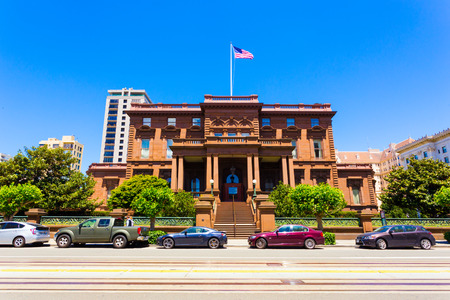 San Francisco, USA - May 20, 2016: Historic brownstone house, the former Flood Mansion is home to Pacific-Union Club on California Street on Nob Hill in sunny San Francisco. Horizontal Editorial